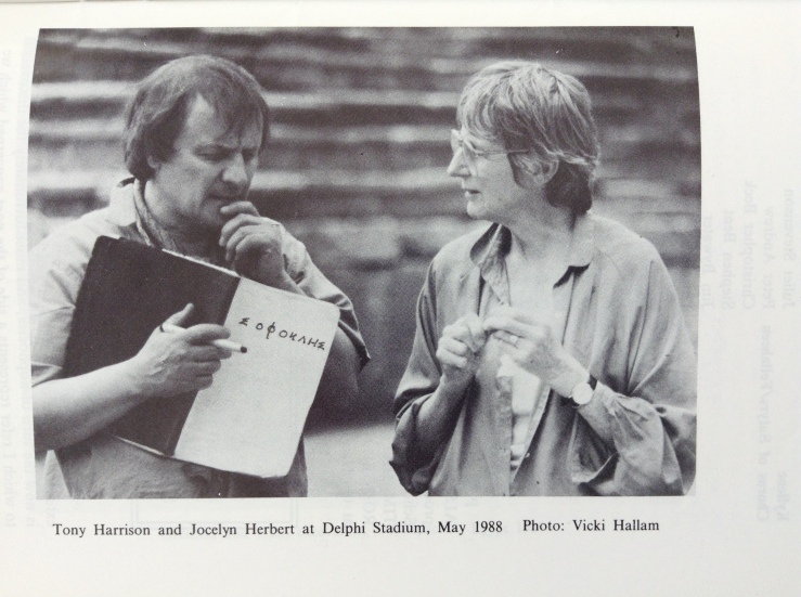 Black and white photo captioned: Tony Harrison and Jocelyn Herbert at Delphi Stadium, May 1988 Photo: Vicki Hallam